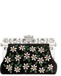 Pochette en velours ornée noire Dolce & Gabbana