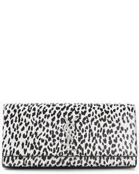Pochette imprimée léopard blanche et noire Saint Laurent