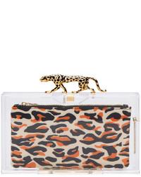 Pochette imprimée léopard marron clair Charlotte Olympia