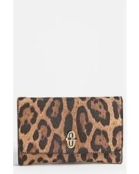Pochette imprimée léopard marron