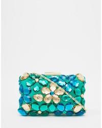 Pochette ornée de perles bleu canard Love Moschino