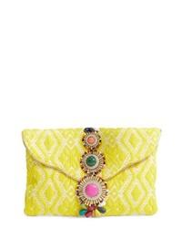 Pochette ornée de perles jaune