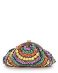 Pochette ornée de perles multicolore