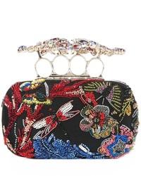 Pochette ornée de perles noire Alexander McQueen