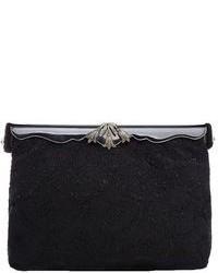 Pochette ornée de perles noire