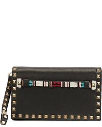 Pochette ornée de perles noire Valentino