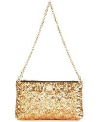Pochette pailletée dorée Dolce & Gabbana