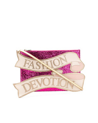 Pochette pailletée ornée fuchsia Dolce & Gabbana