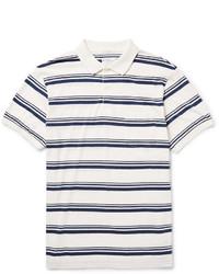 Polo à rayures horizontales blanc et bleu marine