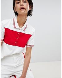 Polo à rayures horizontales blanc et rouge