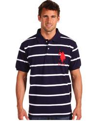 Polo à rayures horizontales bleu marine et blanc
