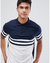 Polo à rayures horizontales bleu marine et blanc ASOS DESIGN