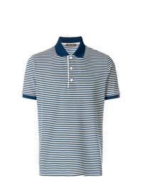 Polo à rayures horizontales bleu marine et blanc Loro Piana