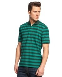 Polo à rayures horizontales bleu marine et vert