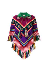 Poncho à motif zigzag multicolore Gucci