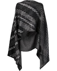Poncho à rayures horizontales noir Issey Miyake
