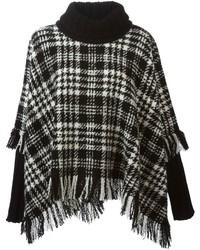 Poncho écossais blanc et noir Dolce & Gabbana