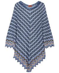 Poncho en crochet en tricot bleu clair Missoni