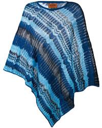 Poncho en crochet en tricot bleu marine Missoni