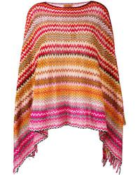 Poncho en crochet en tricot rouge Missoni