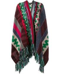 Poncho en laine à patchwork bleu canard Etro