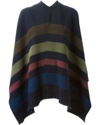 Poncho en laine à rayures horizontales multicolore