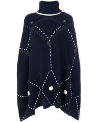 Poncho en laine en tricot bleu marine Michel Klein