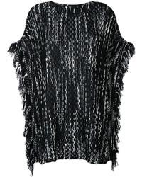 Poncho en laine en tricot noir Missoni