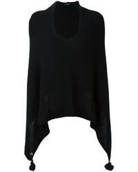 Poncho en laine en tricot noir Twin-Set