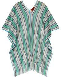 Poncho en tricot bleu canard Missoni