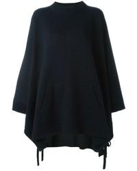 Poncho en tricot bleu marine
