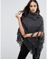 Poncho en tricot gris foncé Lipsy