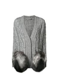 Poncho en tricot gris Ermanno Scervino