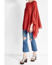 Poncho en tricot rouge