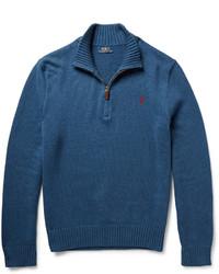 Pull à col à fermeture éclair bleu Polo Ralph Lauren