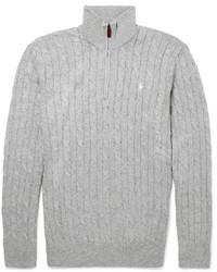 Pull à col à fermeture éclair gris Polo Ralph Lauren