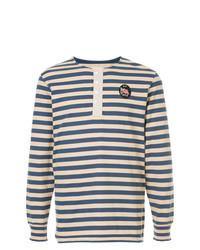 Pull à col boutonné à rayures horizontales bleu marine Kent & Curwen