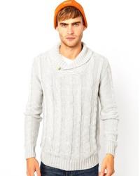 Pull à col châle en tricot beige