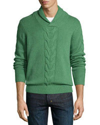 Pull à col châle en tricot vert