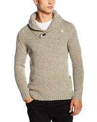 Pull à col châle marron clair G-Star RAW