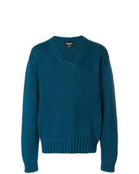 Pull à col en v bleu canard Calvin Klein 205W39nyc