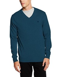 Pull à col en v bleu canard Crew Clothing