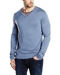 Pull à col en v bleu clair Calvin Klein