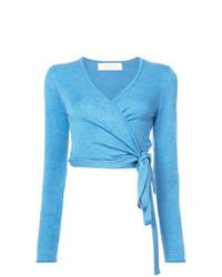 Pull à col en v bleu clair Marina Moscone