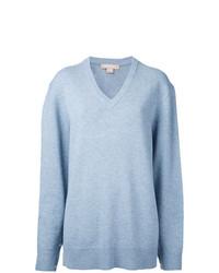 Pull à col en v bleu clair Michael Kors Collection