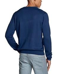 Pull à col en v bleu marine Gant