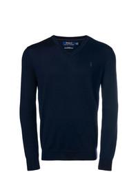 Pull à col en v bleu marine Polo Ralph Lauren