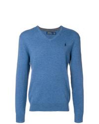 Pull à col en v bleu Polo Ralph Lauren