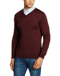 Pull à col en v bordeaux Paul James Knitwear
