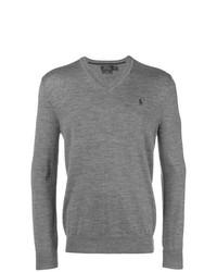 Pull à col en v gris Polo Ralph Lauren